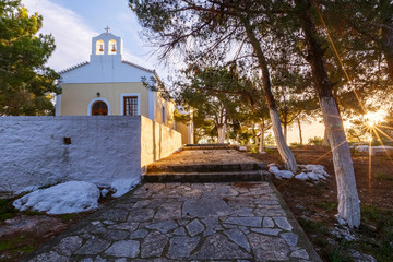 Morning view of a church in Spetses village, Greece.