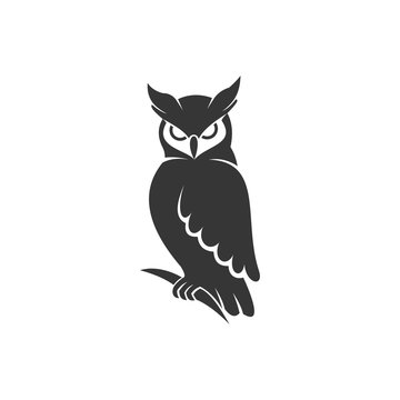 owl logo vector black