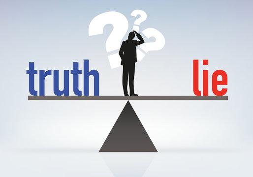 Concept de la désinformation avec un homme qui cherche et hésite à choisir entre le mensonge et la vérité
