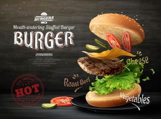 Fototapeta Hamburger ads design obraz
