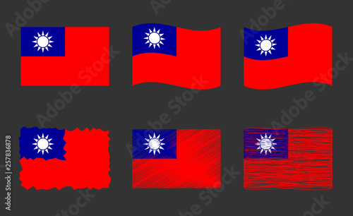 Taiwan flag vector illustration set, official colors of the