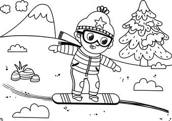Black and white skier boy in winter mountain. Painting activity. Isolated on white. Vector illustration.