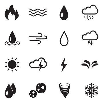 Element Icons. Black Flat Design. Vector Illustration.