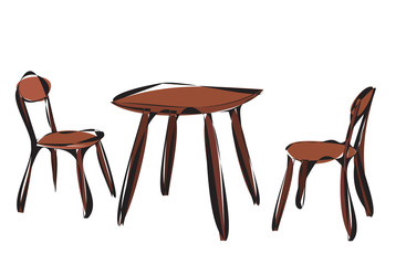 vector, isolated, contour, brown chair and table