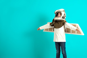 Young guy fancies himself donning BY PLANE PILOT HELMET