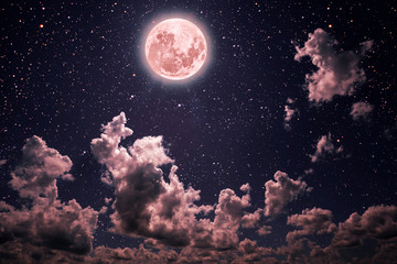 Wall Mural - backgrounds night sky with stars and moon and clouds.  pastel coral color