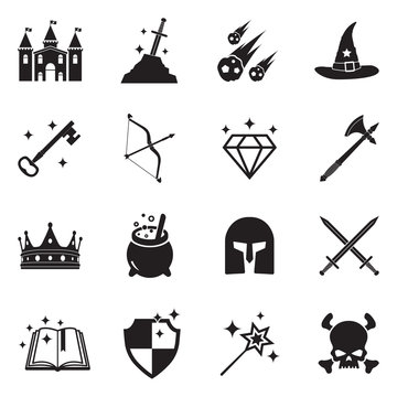 Fantasy Icons. Black Flat Design. Vector Illustration.