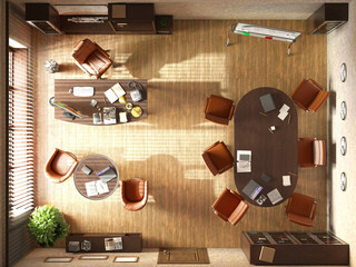 modern office interion evening 3d illustration