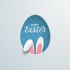 Easter Egg Hole Hare Ears Blue Checked Towel
