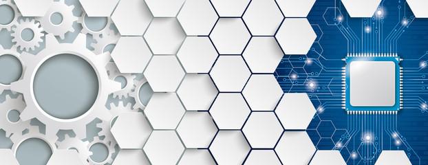 Obraz White Hexagon Structure Gears Microchip Header - fototapety do salonu
