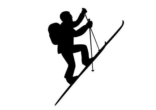 Skitourengeher am steilen Berghang / Vektor, schwarz weiß, freigestellt