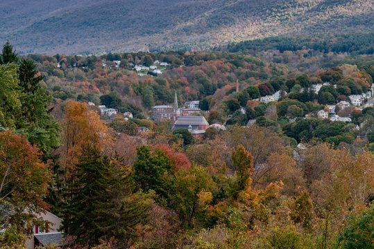 Adams, Massachusetts seen from Mount Greylock during fall with colorful foliage