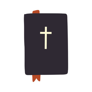 Bible with bookmark doodle hand drawn vector illustration isolated on white background