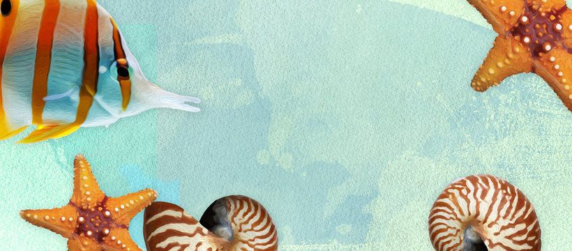 Sealife summer banner with oil paint and watercolor brushes. Seashell, fish, starfish on a marine background with text space.