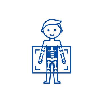 X ray,medical diagnostics man  line concept icon. X ray,medical diagnostics man  flat  vector website sign, outline symbol, illustration.