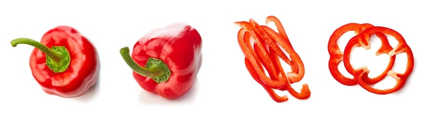 Set of red paprika pepper top view isolated on white background