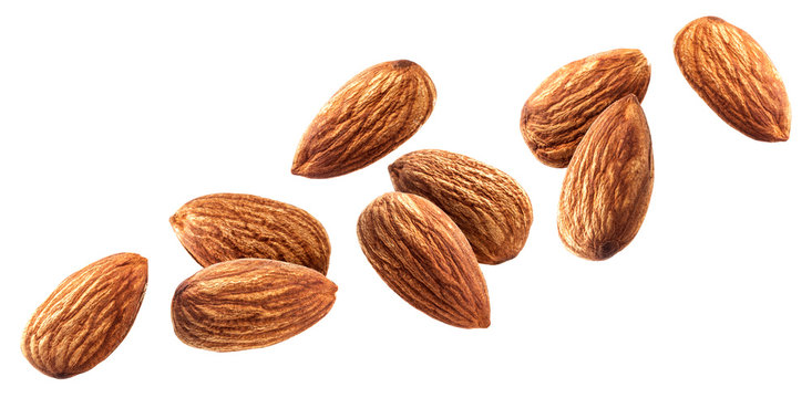 Flying almond isolated on white background with clipping path