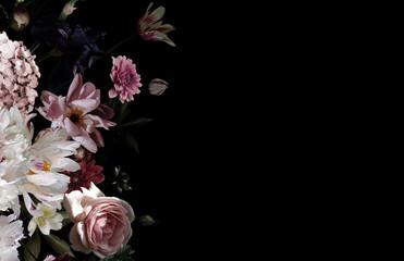 Beautiful garden flowers. Vintage floral card.