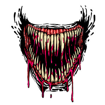 evil fanged jaw with dripping blood