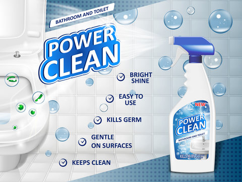 Bathroom cleaners ad poster, spray bottle mockup with detergent for bathroom sink and toilet with bubbles. 3d Vector illustration