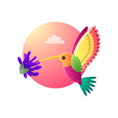 Colorful small bird hummingbird in cartoon style on pink sky background