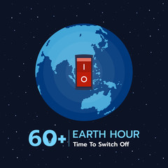 Earth hour banner with  switch off position on earth  background vector design