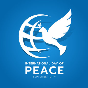 International day of peace banner with white dove of Peace and world sign on blue background vector design