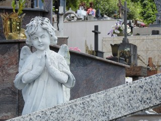 Scene in a graveyard: a damaged stone statue of an angel with its hands together, praying. In the background, crosses, tombs and flowers.