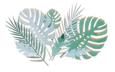 Wall Mural - Various paper tropical leaves composing , isolated on white background
