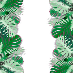 Wall Mural - Tropical leaves frame made with papercraft with shadow, isolated on white background. Exotic foliage