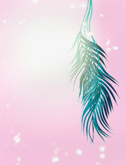 Wall Mural - Curved turquoise blue tropical palm leaves on pastel pink background with bokeh and sunshine. Hanging palm leaves. Summer background