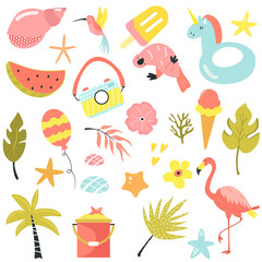 Set of summer elements and icons. Vector illustration