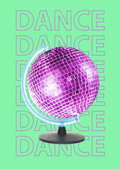 New dance world is opened. Alternative dancing Earth. Purple globe as a sparkling discoball...