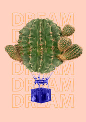 Risky journey, lets have an adventure. Green cactus as an alternative balloon with blue basket...