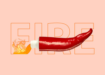 Seasoning hot chili sauce. Push and add fire to your bland days. Red pepper shaped tube with...