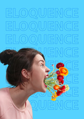 Eloquence and oratory. Scream louder for being heard. Young woman in sweatshirt screaming with colorful flowers in her mouth against blue background. Modern design. Contemporary art collage.