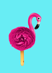 Ice creamy flamingo. Bird with bright pink flower body and legs as wooden stick against blue...