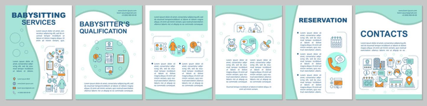 Babysitting service brochure template layout