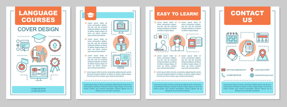 Foreign language learning classes brochure template