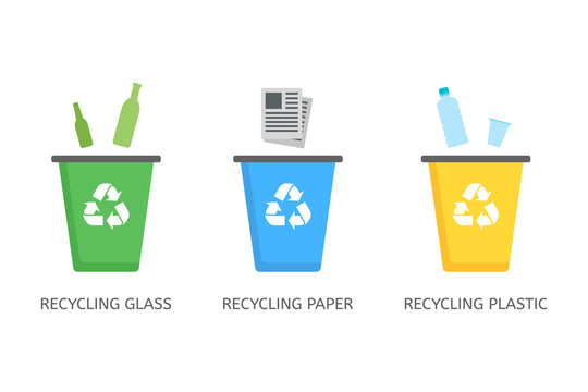 Recycle bins for plastic, paper, glass vector icons in flat style