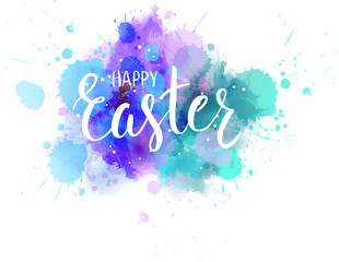 Happy Easter lettering on watercolor background