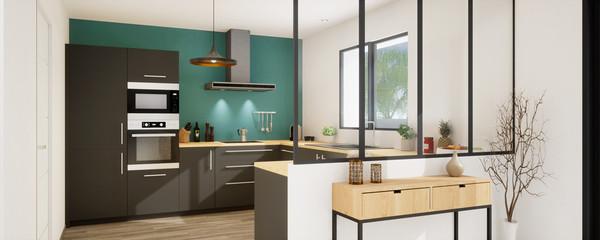 Fototapeta vue 3d panoramique cuisine avec verrière 21 -21 obraz