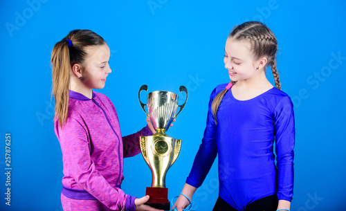 Winners in competition  victory of teen girls  Sport success