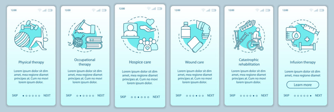 Rehabilitation hospital onboarding mobile app page screen vector template