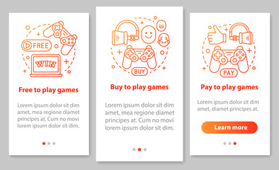 Buying apps and games onboarding mobile page screen with linear icons