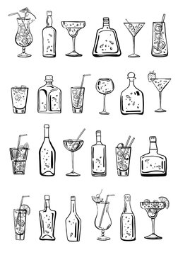 Vector outline hand drawn sketch illustration with different cocktails and alcohol bottles isolated on white background