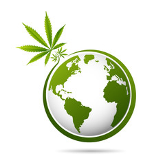 world map is made of green cannabis leaves. Abstract territorial plan in green color hues