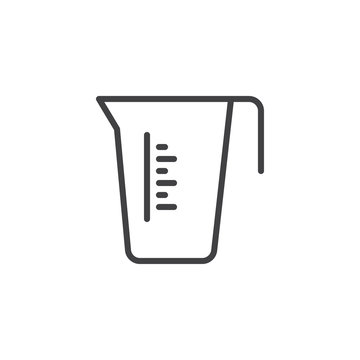Measuring cup line icon. linear style sign for mobile concept and web design. Carafe container jug outline vector icon. Kitchen utensil symbol, logo illustration. Pixel perfect vector graphics