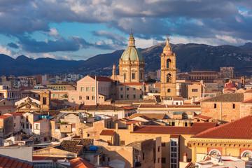 Zelfklevend Fotobehang Palermo Palermo at sunset, Sicily, Italy