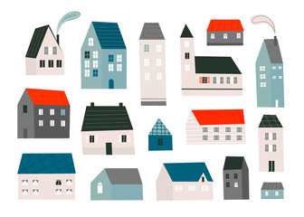 Various small tiny houses. Paper cut style. Flat design. Hand drawn trendy illustration. Colored vector set. All elements are isolated